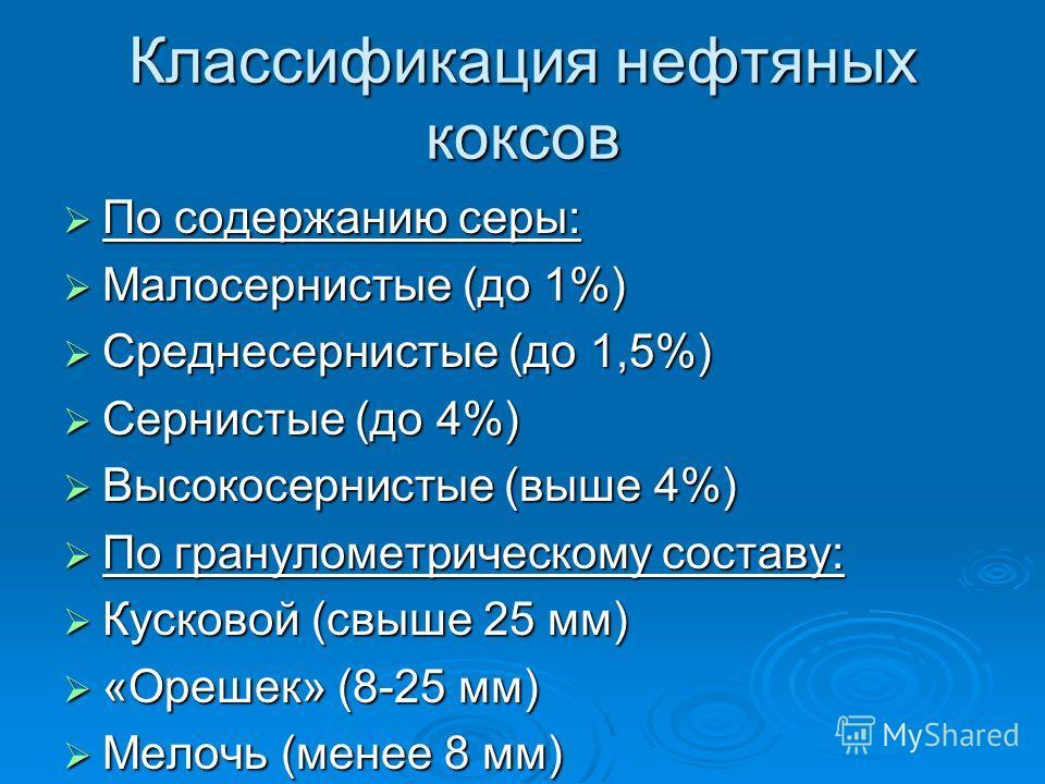 Классификация нефтяных коксов По содержанию серы: По содержанию серы: Малосернистые (до 1%) Малосернистые (до 1%) Среднесернистые (до 1,5%) Среднесернистые (до 1,5%) Сернистые (до 4%) Сернистые (до 4%) Высокосернистые (выше 4%) Высокосернистые (выше