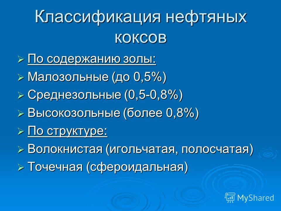 Классификация нефтяных коксов По содержанию золы: По содержанию золы: Малозольные (до 0,5%) Малозольные (до 0,5%) Среднезольные (0,5-0,8%) Среднезольные (0,5-0,8%) Высокозольные (более 0,8%) Высокозольные (более 0,8%) По структуре: По структуре: Воло
