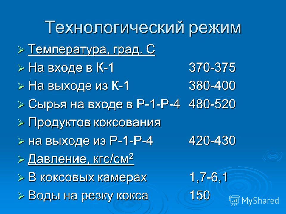 Технологический режим Температура, град. С Температура, град. С На входе в К-1 370-375 На входе в К-1 370-375 На выходе из К-1380-400 На выходе из К-1380-400 Сырья на входе в Р-1-Р-4480-520 Сырья на входе в Р-1-Р-4480-520 Продуктов коксования Продукт