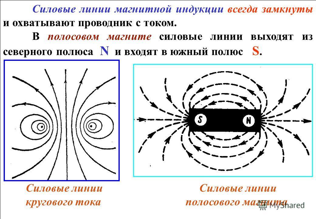 Силовые линии магнитной индукции всегда замкнуты и охватывают проводник с током. В полосовом магните силовые линии выходят из северного полюса N и входят в южный полюс S. Силовые линии Силовые линии кругового тока полосового магнита Силовые линии маг