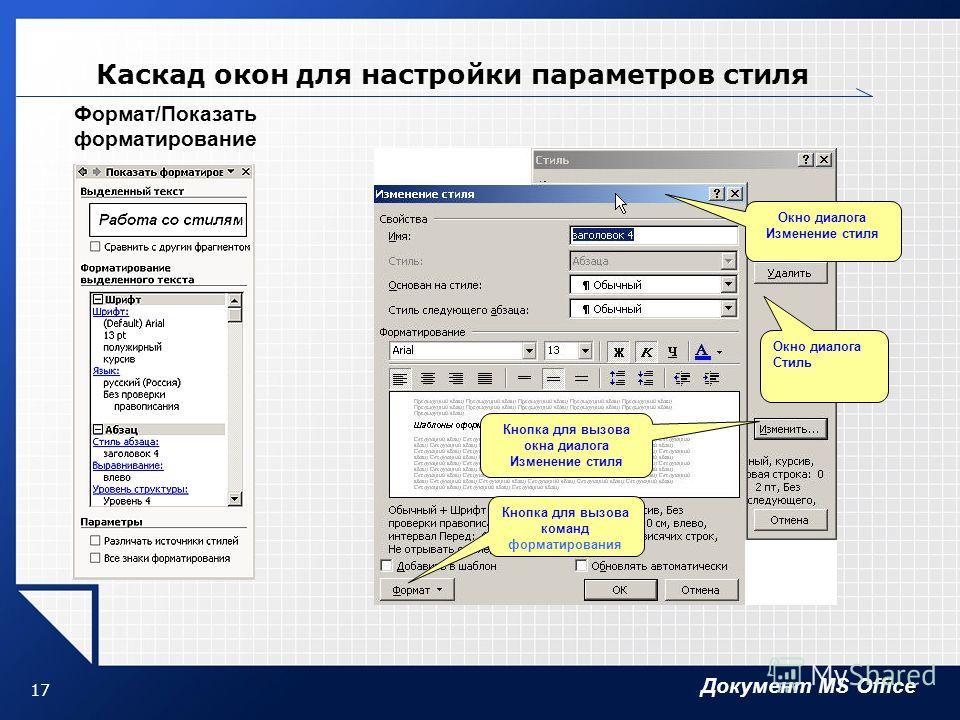 Документ MS Office 17 Каскад окон для настройки параметров стиля Окно диалога Изменение стиля Окно диалога Стиль Кнопка для вызова окна диалога Изменение стиля Кнопка для вызова команд форматирования Формат/Показать форматирование