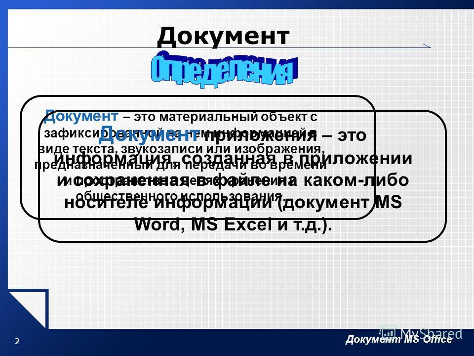 Документ MS Office 2 Документ Документ – это материальный объект с зафиксированной на нем информацией в виде текста, звукозаписи или изображения, предназначенный для передачи во времени и пространстве в целях хранения и общественного использования. Д