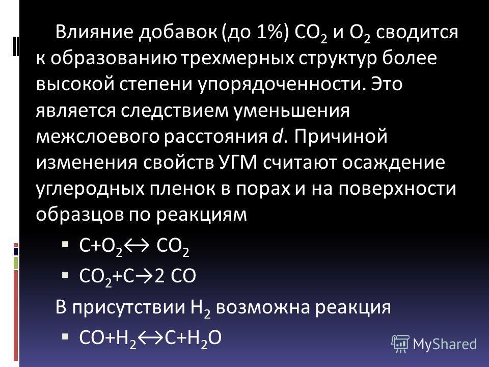 Влияние добавок (до 1%) СО 2 и О 2 сводится к образованию трехмерных структур более высокой степени упорядоченности. Это является следствием уменьшения межслоевого расстояния d. Причиной изменения свойств УГМ считают осаждение углеродных пленок в пор