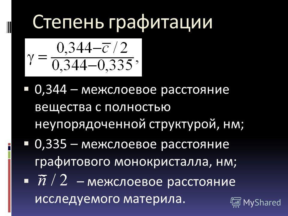Степень графитации 0,344 – межслоевое расстояние вещества с полностью неупорядоченной структурой, нм; 0,335 – межслоевое расстояние графитового монокристалла, нм; – межслоевое расстояние исследуемого материла.