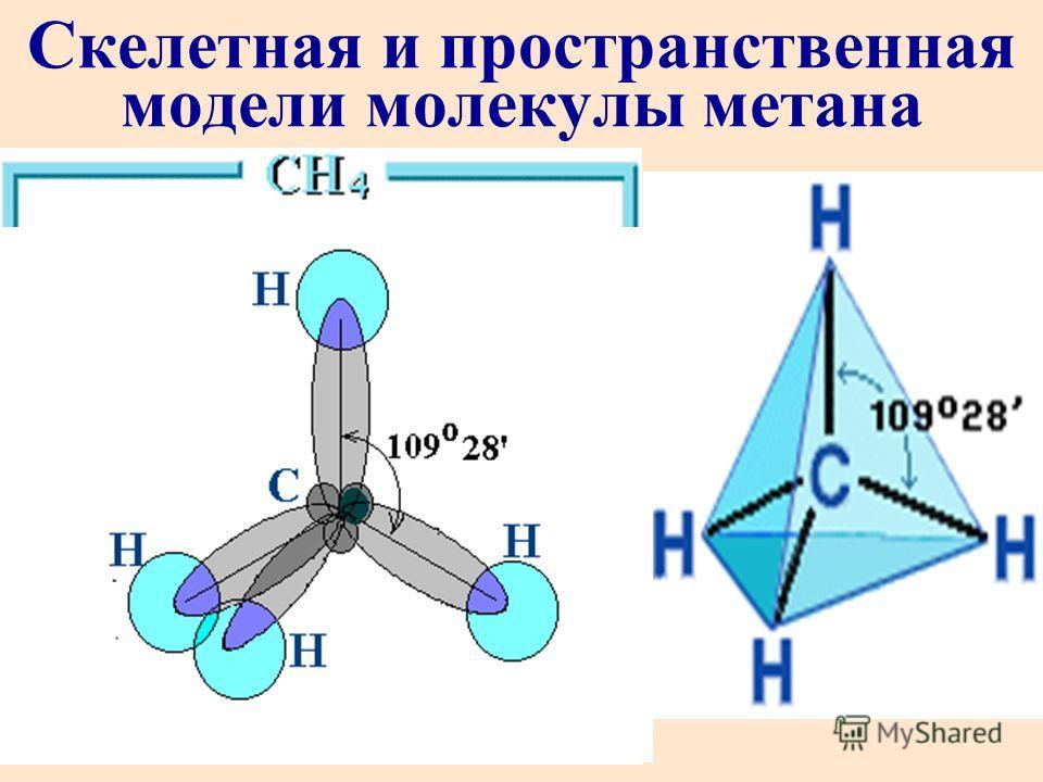 Скелетная и пространственная модели молекулы метана