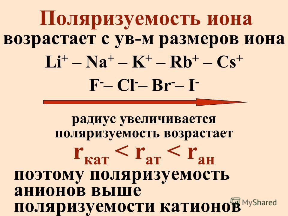 Поляризуемость иона возрастает с ув-м размеров иона Li + – Na + – K + – Rb + – Cs + F - – Cl - – Br - – I - радиус увеличивается поляризуемость возрастает r кат < r ат < r ан поэтому поляризуемость анионов выше поляризуемости катионов