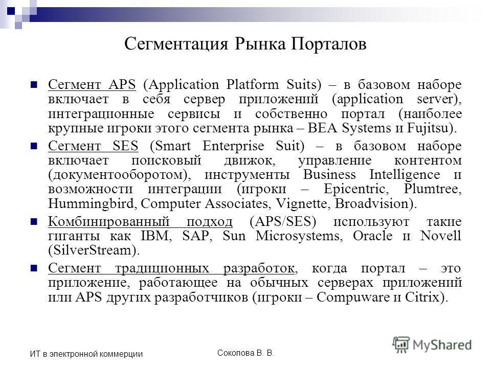 Соколова В. В. ИТ в электронной коммерции Сегментация Рынка Порталов Сегмент APS (Application Platform Suits) – в базовом наборе включает в себя сервер приложений (application server), интеграционные сервисы и собственно портал (наиболее крупные игро