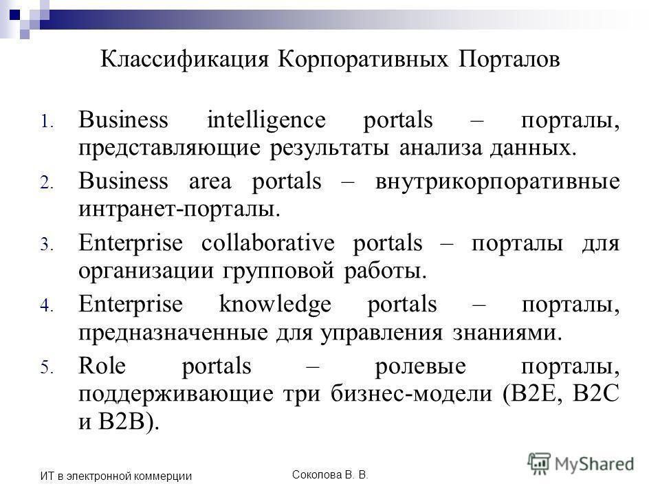 Соколова В. В. ИТ в электронной коммерции Классификация Корпоративных Порталов 1. Business intelligence portals – порталы, представляющие результаты анализа данных. 2. Business area portals – внутрикорпоративные интранет-порталы. 3. Enterprise collab