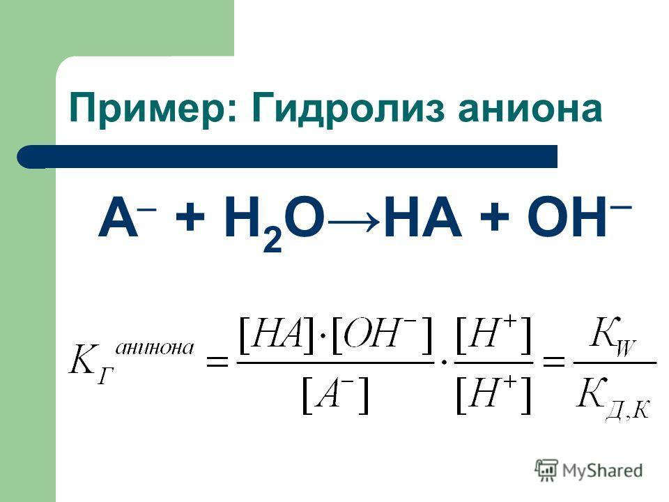 Пример: Гидролиз аниона А + Н 2 ОНА + ОН