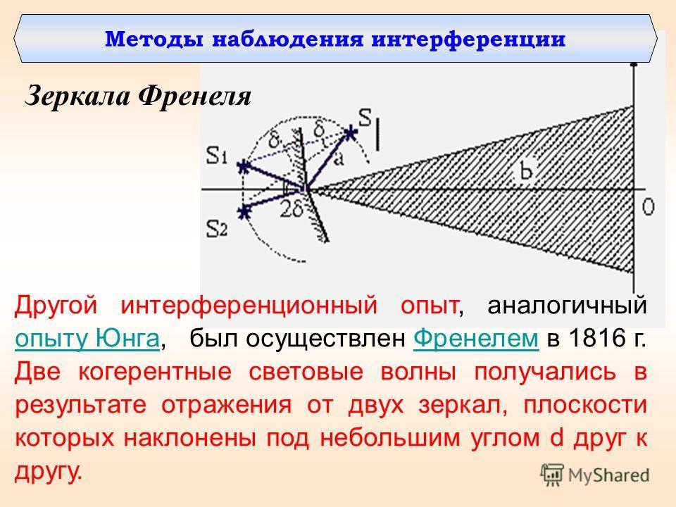 Методы наблюдения интерференции Зеркала Френеля Другой интерференционный опыт, аналогичный опыту Юнга, был осуществлен Френелем в 1816 г. Две когерентные световые волны получались в результате отражения от двух зеркал, плоскости которых наклонены под