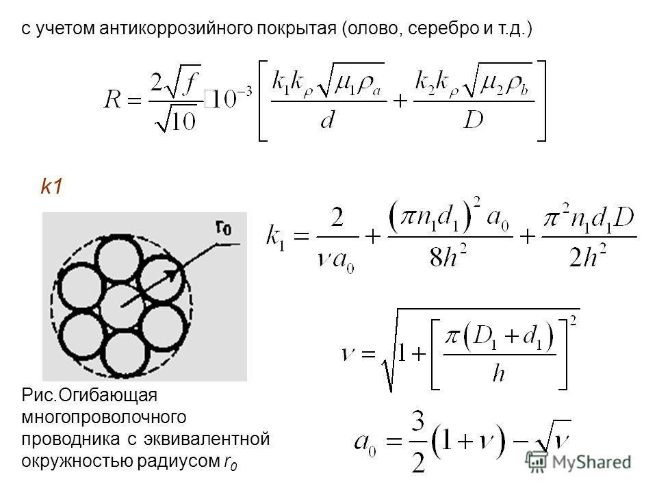 с учетом антикоррозийного покрытая (олово, серебро и т.д.) k1k1 Рис.Огибающая многопроволочного проводника с эквивалентной окружностью радиусом r 0