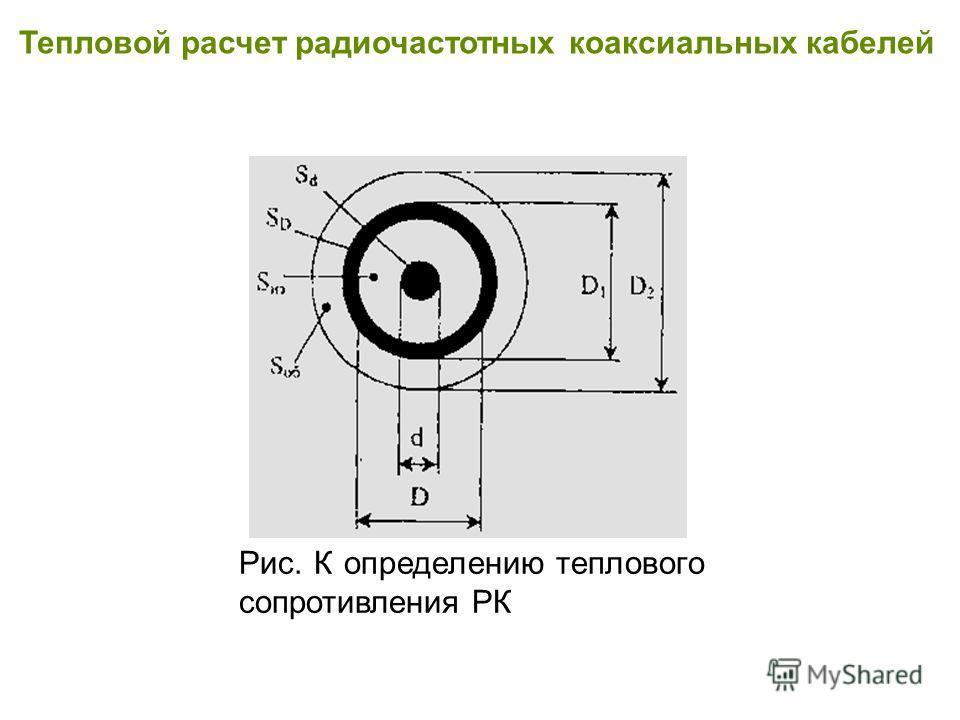 Тепловой расчет радиочастотных коаксиальных кабелей Рис. К определению теплового сопротивления РК