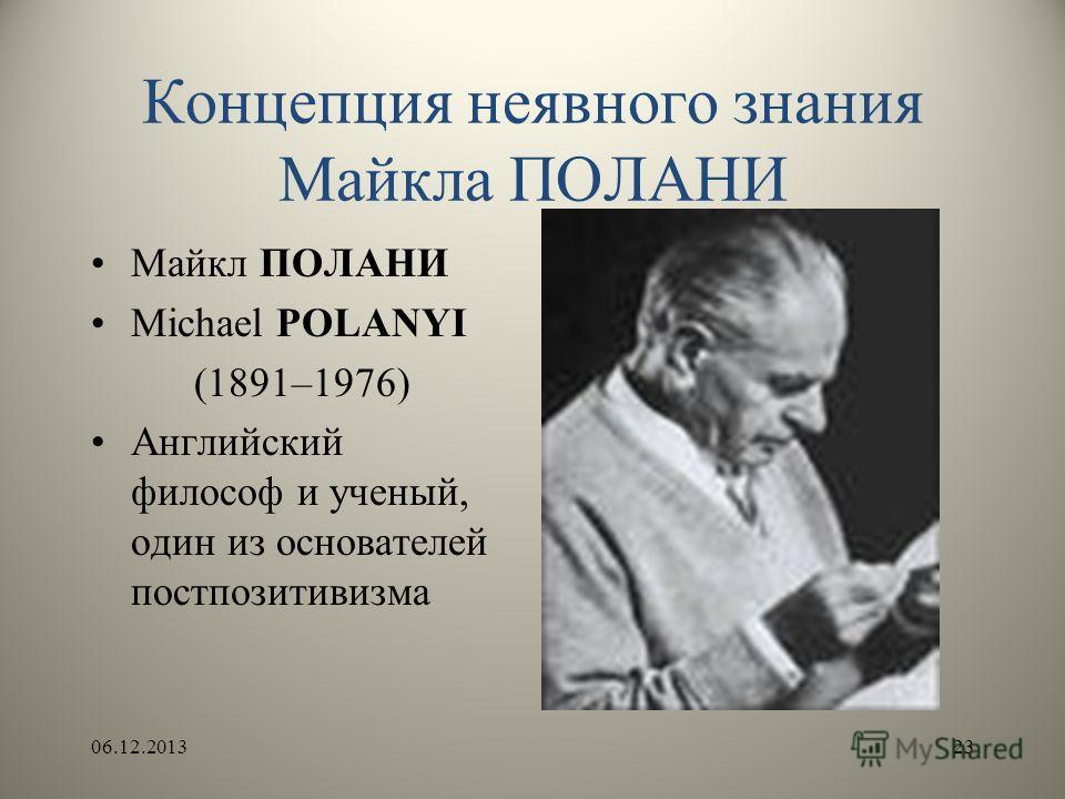 Концепция неявного знания Майкла ПОЛАНИ Майкл ПОЛАНИ Michael POLANYI (1891–1976) Английский философ и ученый, один из основателей постпозитивизма 06.12.201323