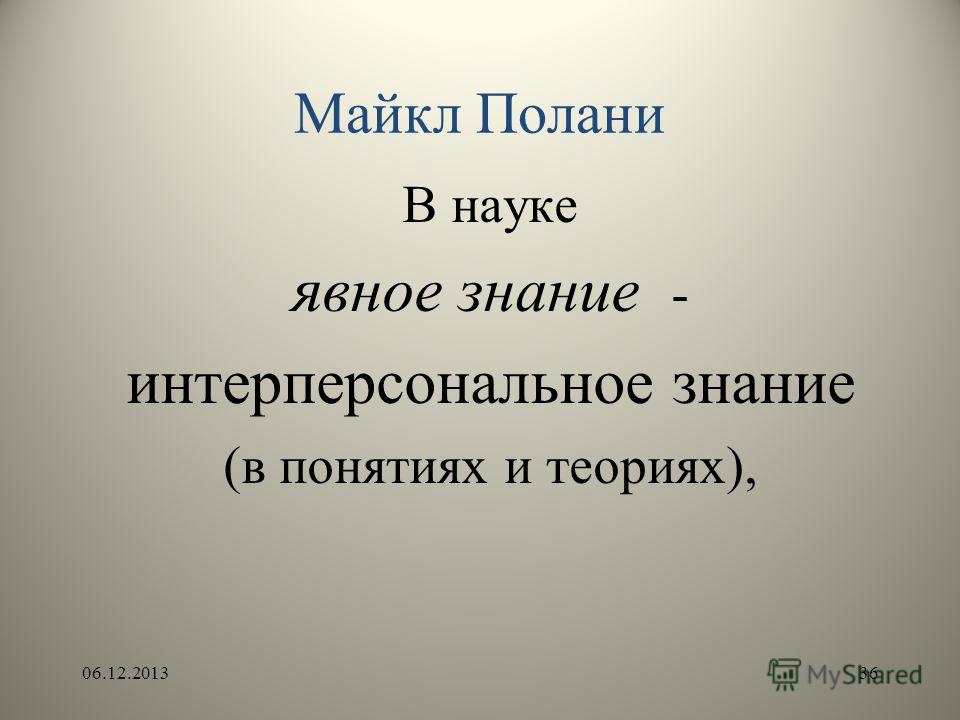 Майкл Полани В науке явное знание - интерперсональное знание (в понятиях и теориях), 06.12.201336