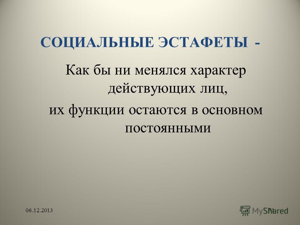 СОЦИАЛЬНЫЕ ЭСТАФЕТЫ - Как бы ни менялся характер действующих лиц, их функции остаются в основном постоянными 06.12.201371