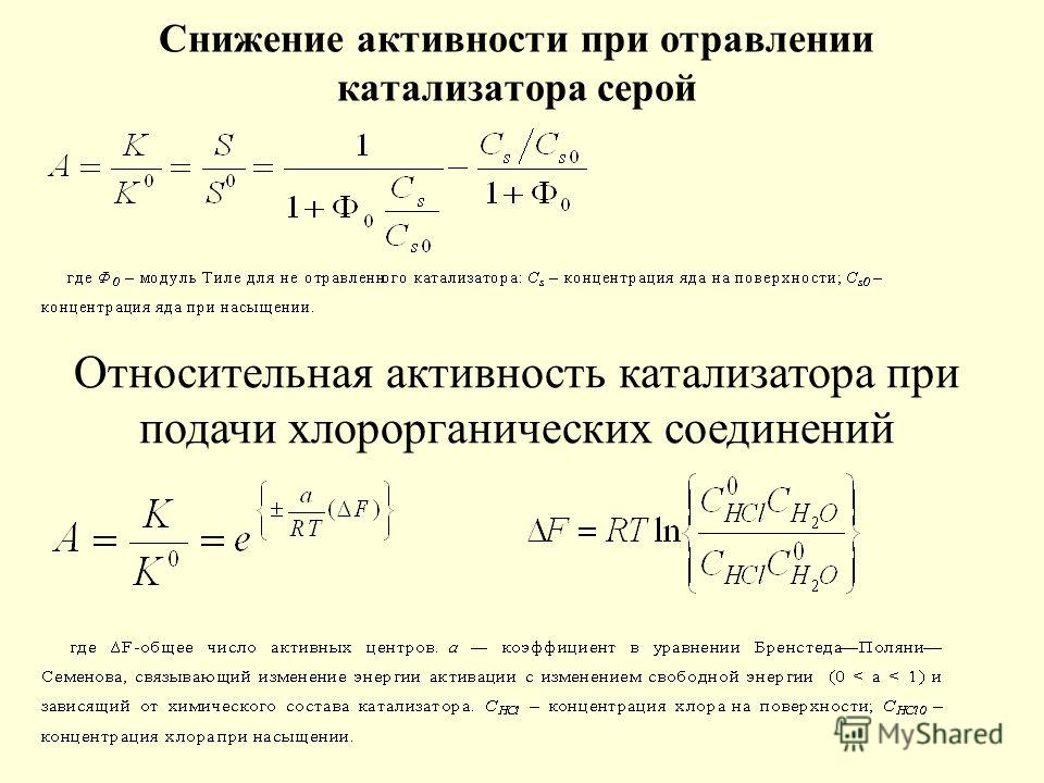Снижение активности при отравлении катализатора серой Относительная активность катализатора при подачи хлорорганических соединений