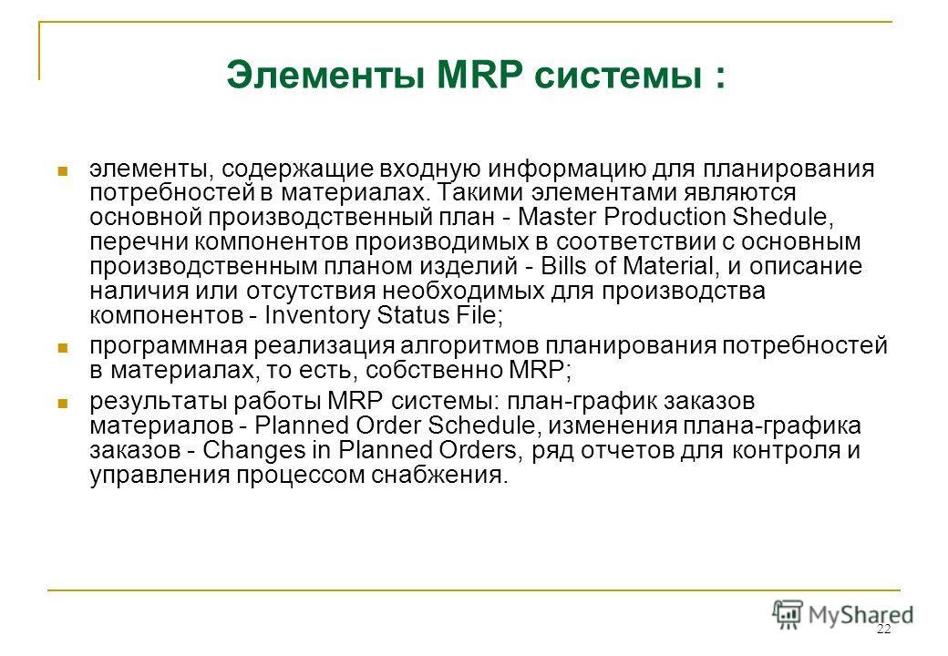 22 Элементы MRP системы : элементы, содержащие входную информацию для планирования потребностей в материалах. Такими элементами являются основной производственный план - Master Production Shedule, перечни компонентов производимых в соответствии с осн