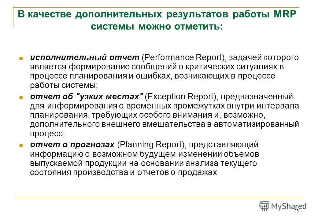 25 исполнительный отчет (Performance Report), задачей которого является формирование сообщений о критических ситуациях в процессе планирования и ошибках, возникающих в процессе работы системы; отчет об