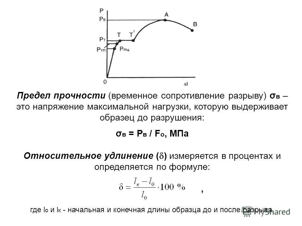 Предел прочности (временное сопротивление разрыву) σ в – это напряжение максимальной нагрузки, которую выдерживает образец до разрушения: σ в = Р в / F o, МПа Относительное удлинение ( ) измеряется в процентах и определяется по формуле:, где l o и l