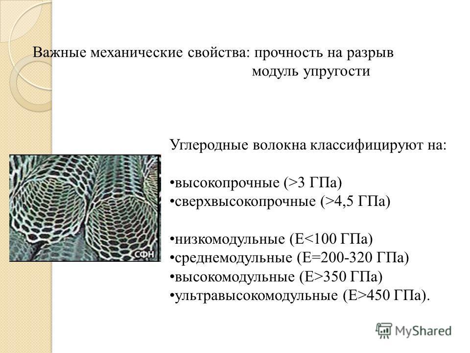 Важные механические свойства: прочность на разрыв модуль упругости Углеродные волокна классифицируют на: высокопрочные (>3 ГПа) сверхвысокопрочные (>4,5 ГПа) низкомодульные (Е350 ГПа) ультравысокомодульные (Е>450 ГПа).