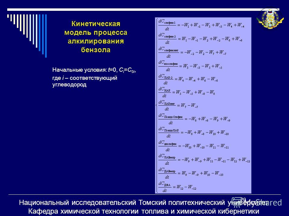 Кинетическая модель процесса алкилирования бензола Начальные условия: t=0, С i =C 0i, где i – соответствующий углеводород 20 Национальный исследовательский Томский политехнический университет Кафедра химической технологии топлива и химической киберне