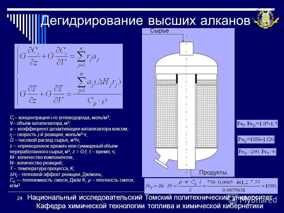 Дегидрирование высших алканов C i – концентрация i-го углеводорода, моль/м 3 ; V– объем катализатора, м 3 ; a – коэффициент дезактивации катализатора коксом; r j – скорость j-й реакции, моль/м 3 ч; G – часовой расход сырья, м 3 /ч; z – «приведенное в