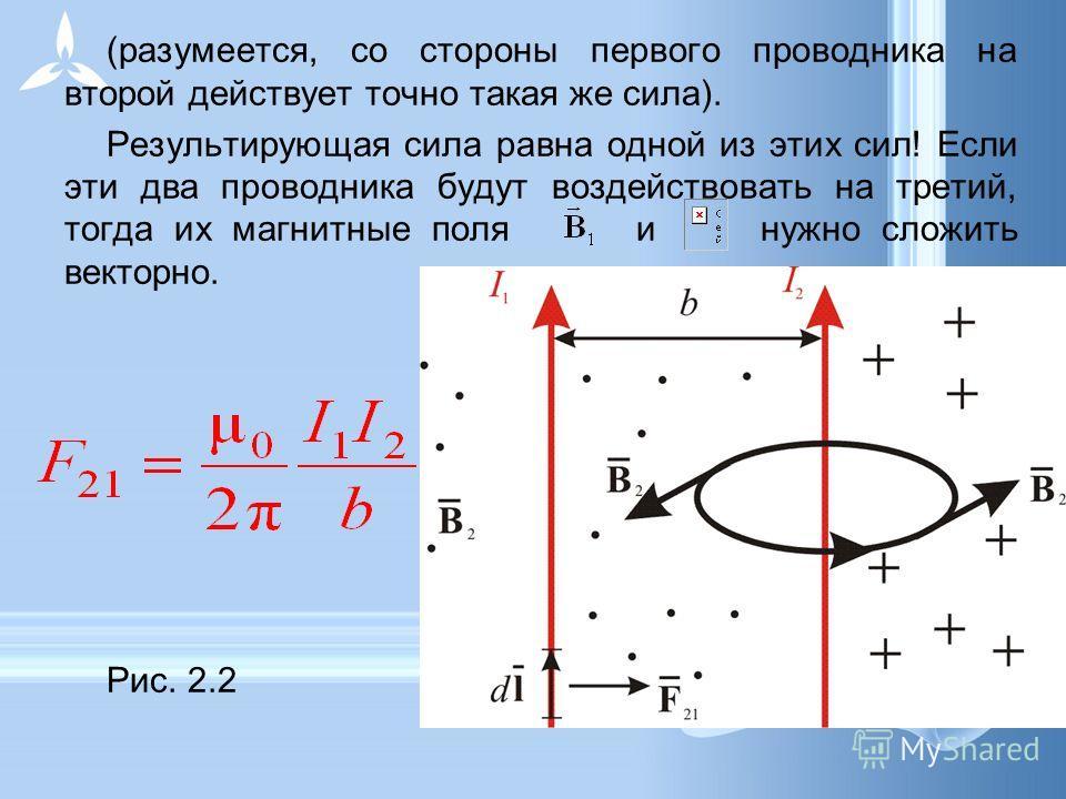 (разумеется, со стороны первого проводника на второй действует точно такая же сила). Результирующая сила равна одной из этих сил! Если эти два проводника будут воздействовать на третий, тогда их магнитные поля и нужно сложить векторно. Рис. 2.2