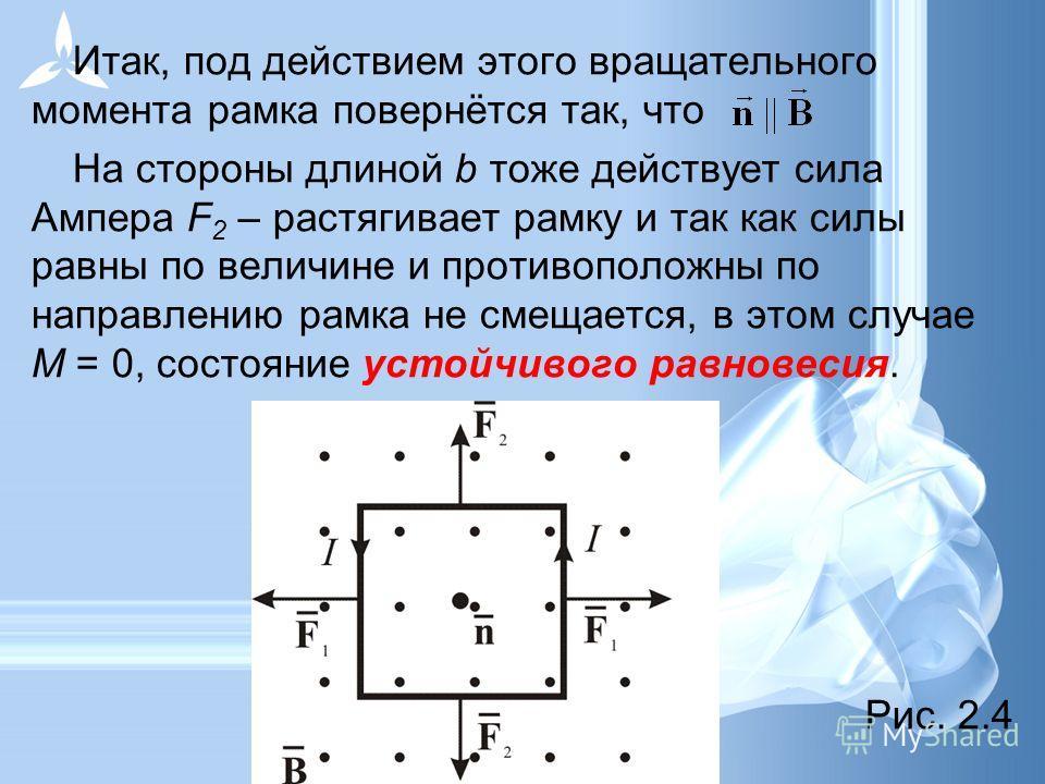Итак, под действием этого вращательного момента рамка повернётся так, что На стороны длиной b тоже действует сила Ампера F 2 – растягивает рамку и так как силы равны по величине и противоположны по направлению рамка не смещается, в этом случае М = 0,
