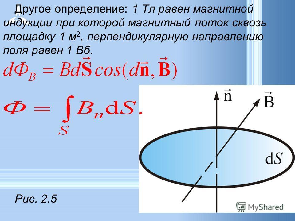 Другое определение: 1 Тл равен магнитной индукции при которой магнитный поток сквозь площадку 1 м 2, перпендикулярную направлению поля равен 1 Вб. Рис. 2.5