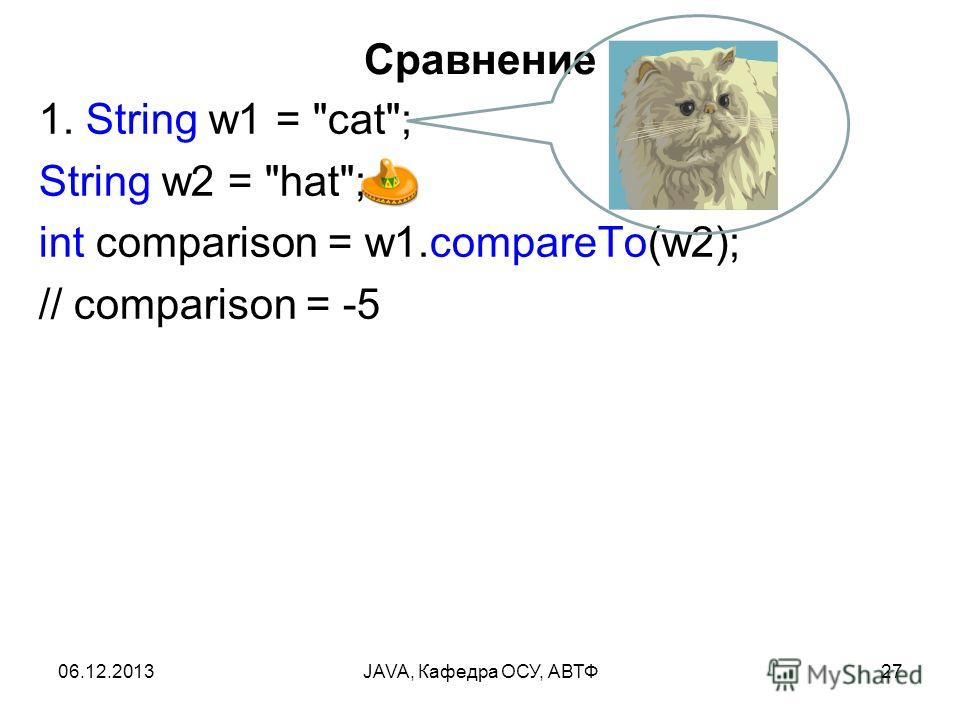 06.12.2013JAVA, Кафедра ОСУ, АВТФ27 Сравнение 1. String w1 = cat; String w2 = hat; int comparison = w1.compareTo(w2); // comparison = -5