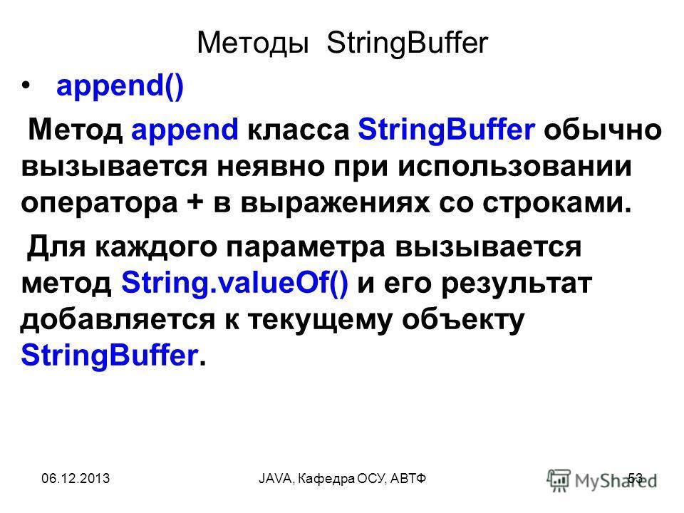 06.12.2013JAVA, Кафедра ОСУ, АВТФ53 Методы StringBuffer append() Метод append класса StringBuffer обычно вызывается неявно при использовании оператора + в выражениях со строками. Для каждого параметра вызывается метод String.valueOf() и его результат