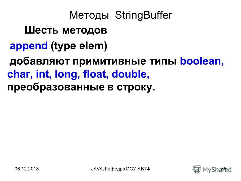 06.12.2013JAVA, Кафедра ОСУ, АВТФ55 Методы StringBuffer Шесть методов append (type elem) добавляют примитивные типы boolean, char, int, long, float, double, преобразованные в строку.
