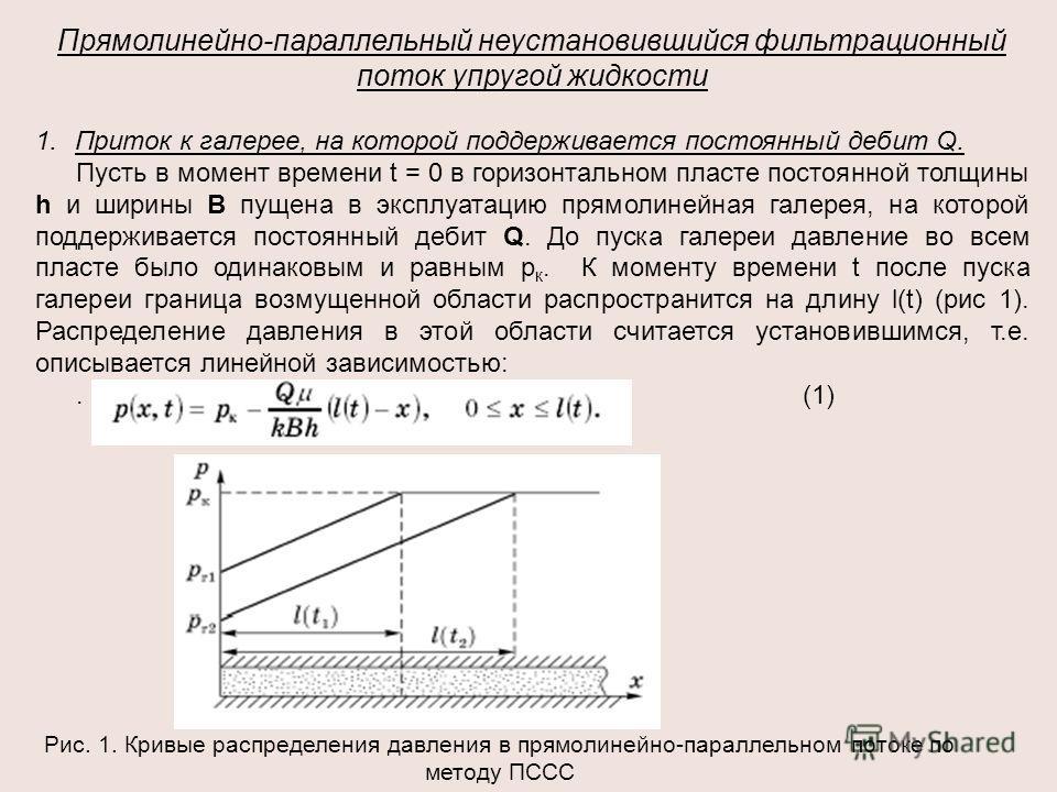 Прямолинейно-параллельный неустановившийся фильтрационный поток упругой жидкости 1.Приток к галерее, на которой поддерживается постоянный дебит Q. Пусть в момент времени t = 0 в горизонтальном пласте постоянной толщины h и ширины В пущена в эксплуата