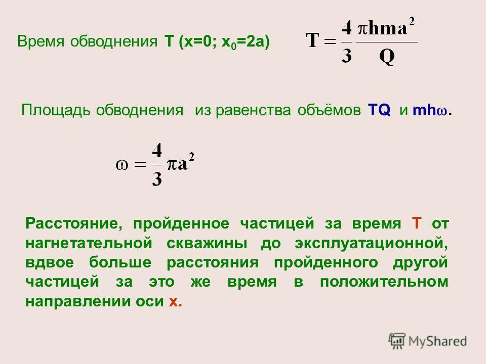 Время обводнения Т (х=0; х 0 =2а) Площадь обводнения из равенства объёмов TQ и mh. Расстояние, пройденное частицей за время Т от нагнетательной скважины до эксплуатационной, вдвое больше расстояния пройденного другой частицей за это же время в положи
