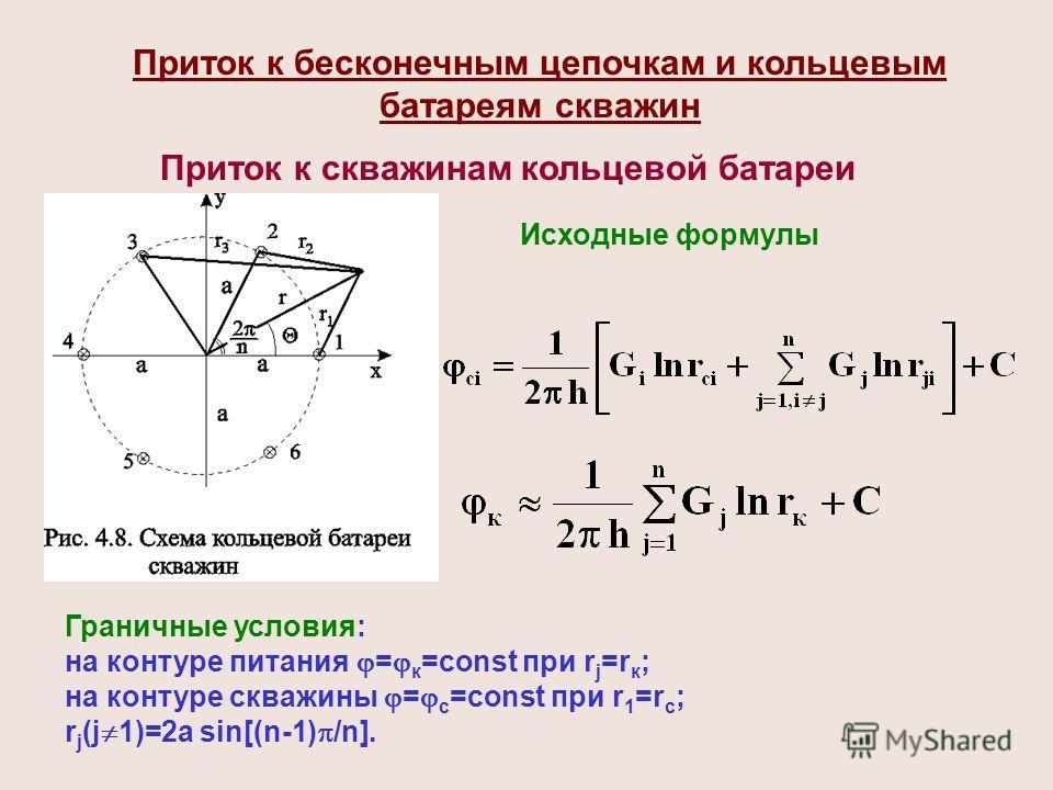 Приток к бесконечным цепочкам и кольцевым батареям скважин Граничные условия: на контуре питания = к =const при r j =r к ; на контуре скважины = с =const при r 1 =r с ; r j (j 1)=2a sin[(n-1) /n]. Исходные формулы Приток к скважинам кольцевой батареи