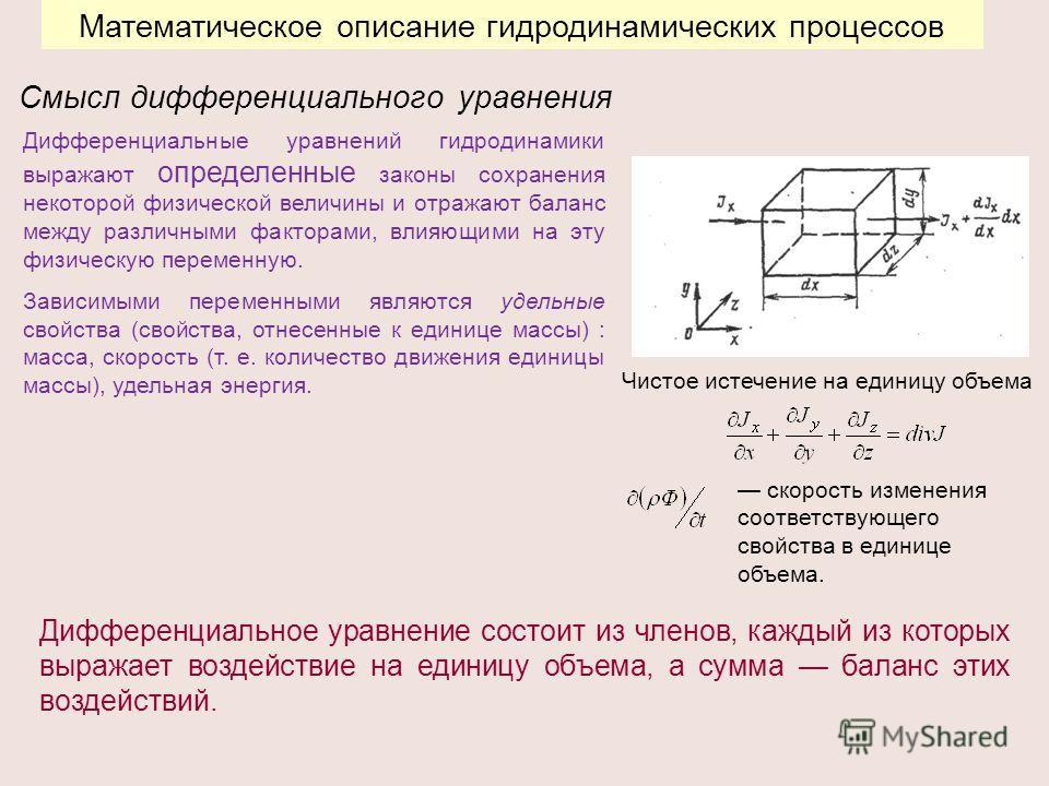 Математическое описание гидродинамических процессов Смысл дифференциального уравнения Дифференциальные уравнений гидродинамики выражают определенные законы сохранения некоторой физической величины и отражают баланс между различными факторами, влияющи