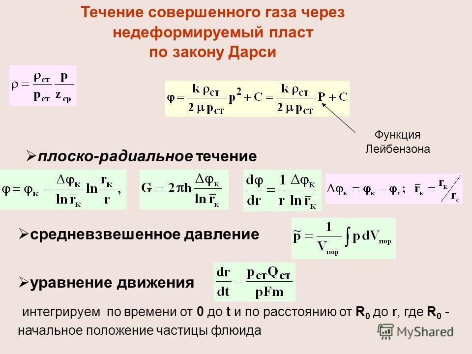Течение совершенного газа через недеформируемый пласт по закону Дарси плоско-радиальное течение средневзвешенное давление уравнение движения интегрируем по времени от 0 до t и по расстоянию от R 0 до r, где R 0 - начальное положение частицы флюида Фу