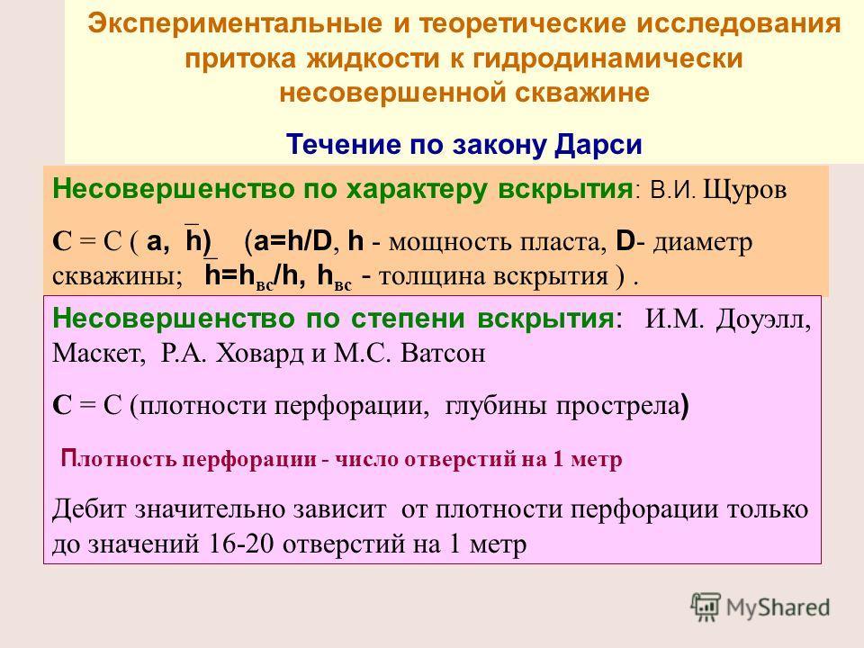 Экспериментальные и теоретические исследования притока жидкости к гидродинамически несовершенной скважине Течение по закону Дарси Несовершенство по характеру вскрытия : В.И. Щуров С = С ( a, h) (a=h/D, h - мощность пласта, D - диаметр скважины; h=h в