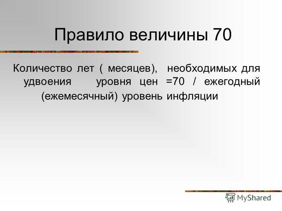 Правило величины 70 Количество лет ( месяцев), необходимых для удвоения уровня цен =70 / ежегодный (ежемесячный) уровень инфляции