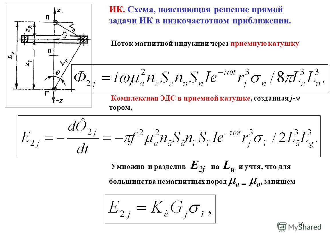 ИК. Схема, поясняющая решение прямой задачи ИК в низкочастотном приближении. Поток магнитной индукции через приемную катушку Комплексная ЭДС в приемной катушке, созданная j-м тором, Умножив и разделив Е 2j на L и и учтя, что для большинства немагнитн