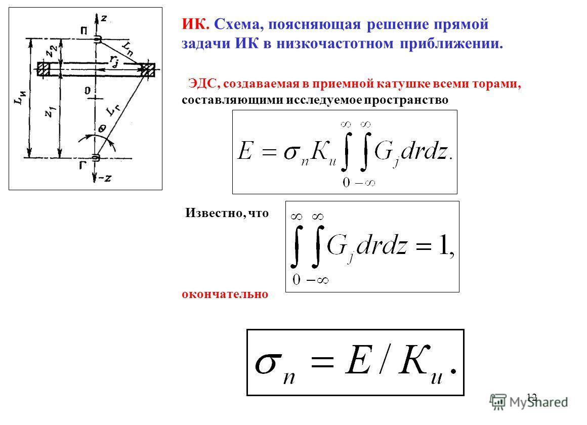 ИК. Схема, поясняющая решение прямой задачи ИК в низкочастотном приближении. ЭДС, создаваемая в приемной катушке всеми торами, составляющими исследуемое пространство Известно, что окончательно 12