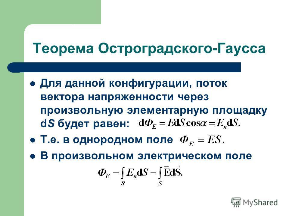 Теорема Остроградского-Гаусса Для данной конфигурации, поток вектора напряженности через произвольную элементарную площадку dS будет равен: Т.е. в однородном поле В произвольном электрическом поле