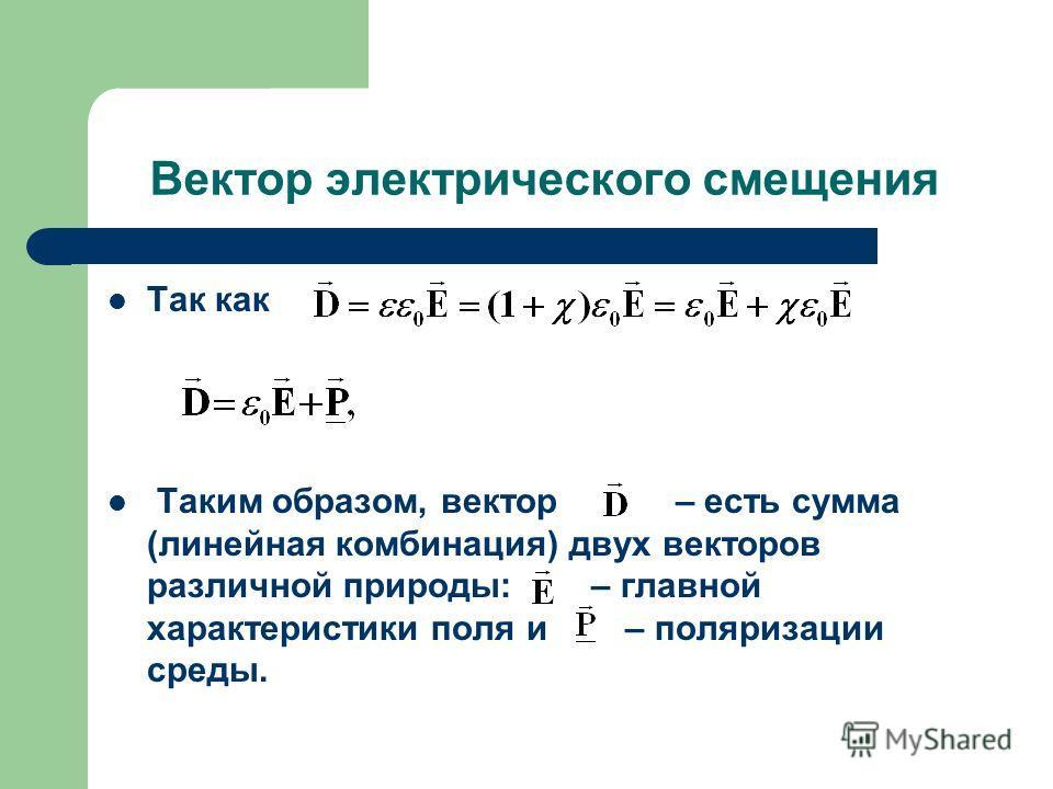 Вектор электрического смещения Так как Таким образом, вектор – есть сумма (линейная комбинация) двух векторов различной природы: – главной характеристики поля и – поляризации среды.