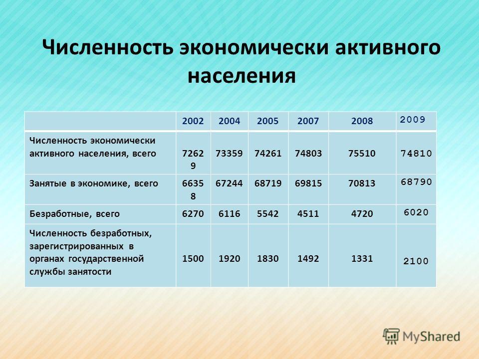 Численность экономически активного населения 20022004200520072008 2009 Численность экономически активного населения, всего7262 9 73359742617480375510 74810 Занятые в экономике, всего6635 8 67244687196981570813 68790 Безработные, всего6270611655424511