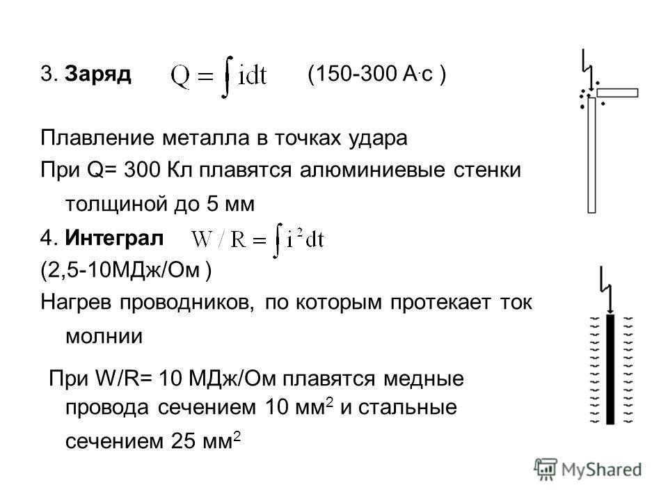 3. Заряд (150-300 А. с ) Плавление металла в точках удара При Q= 300 Кл плавятся алюминиевые стенки толщиной до 5 мм 4. Интеграл (2,5-10МДж/Ом ) Нагрев проводников, по которым протекает ток молнии При W/R= 10 МДж/Ом плавятся медные провода сечением 1