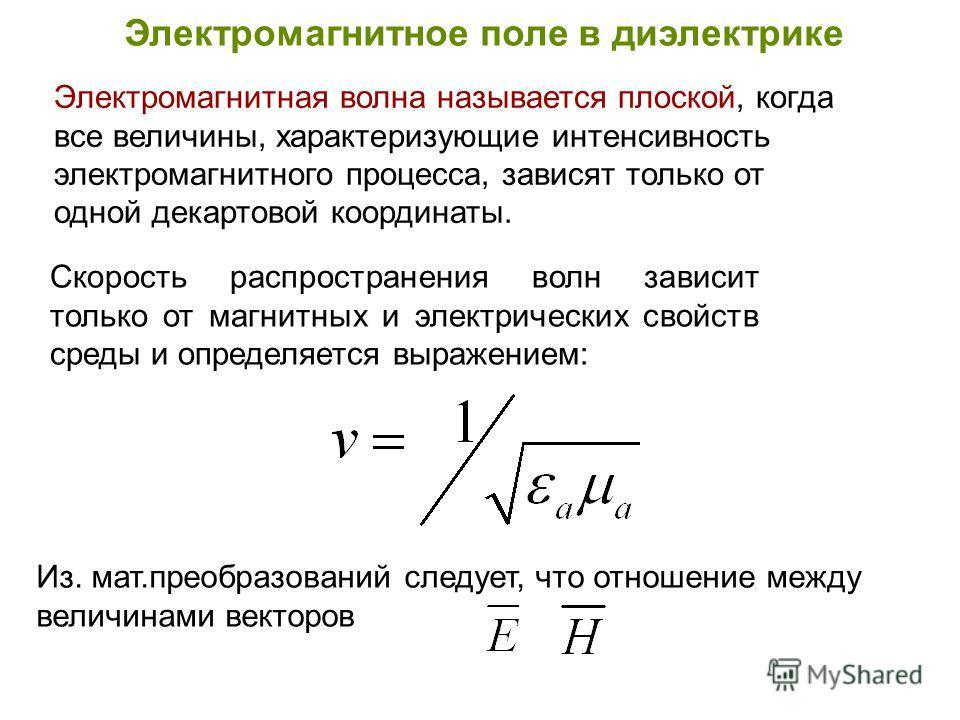 Электромагнитное поле в диэлектрике Скорость распространения волн зависит только от магнитных и электрических свойств среды и определяется выражением: Электромагнитная волна называется плоской, когда все величины, характеризующие интенсивность электр