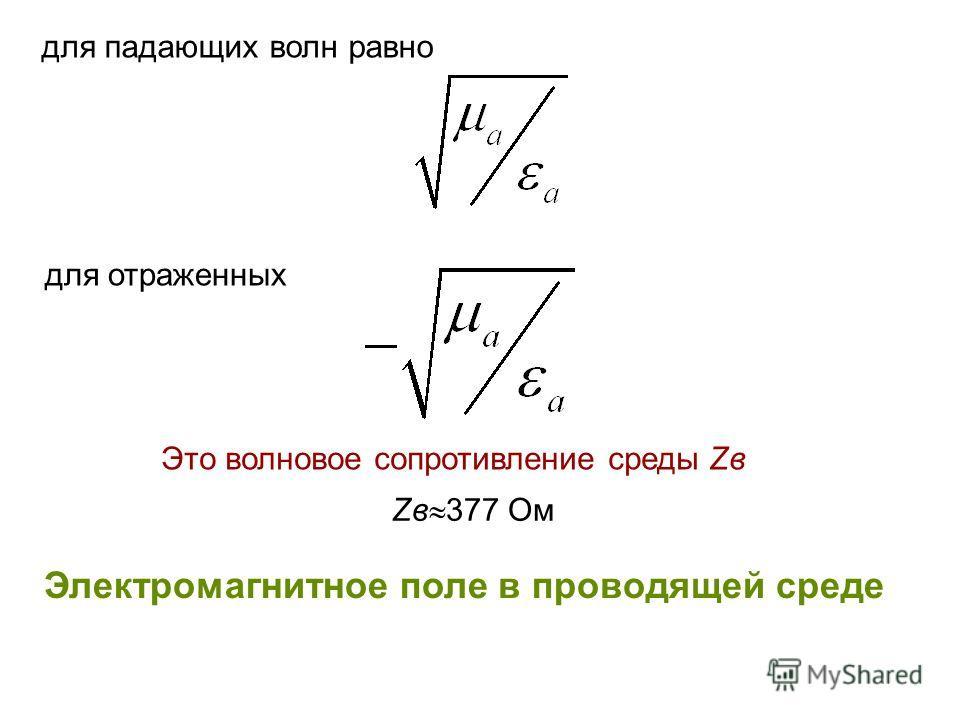 для падающих волн равно для отраженных Это волновое сопротивление среды Zв Электромагнитное поле в проводящей среде Zв 377 Ом