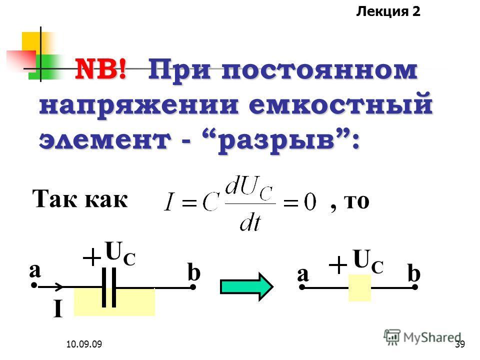 Лекция 2 10.09.0938 NB! При постоянном токе индуктивный элемент - закоротка: Так как, то ULUL I b a I ab