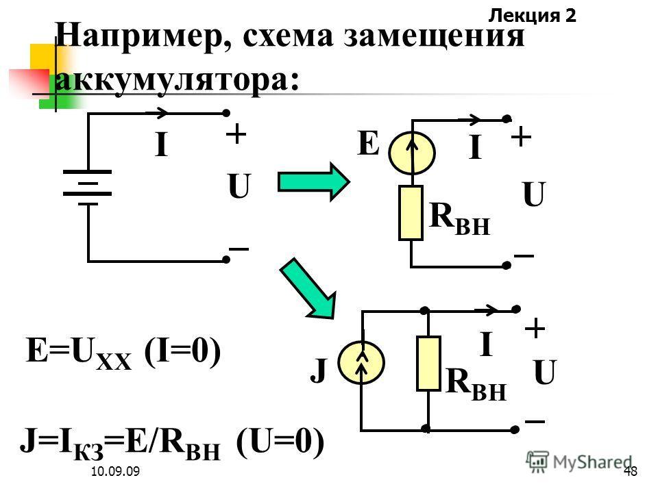 Лекция 2 10.09.0947 Активные и пассивные элементы применяются для составления схем замещения реальных источников электромагнитной энергии