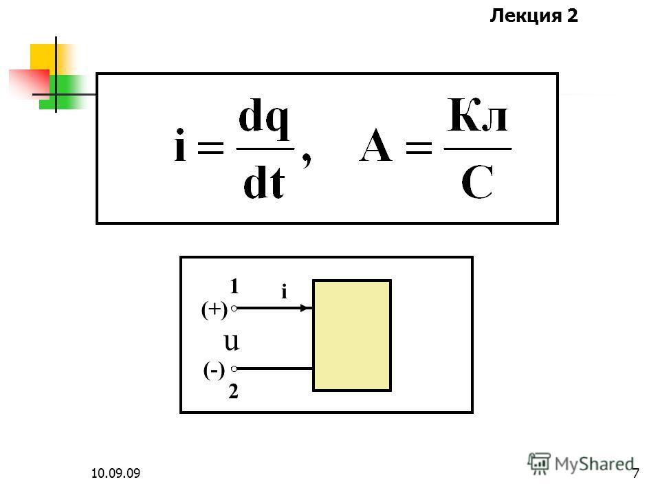 Лекция 2 10.09.096 Ток – это упорядоченное движение зарядов, равное скорости их перемещения через поперечное сечение участка цепи